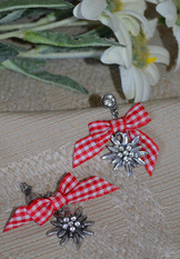 Earrings Edelweiss with Red Checkered Bow