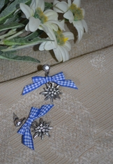 Earrings Edelweiss with Blue Checkered Bow