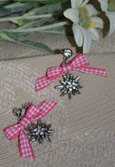 Earrings Edelweiss with Fuchsia Checkered Bow