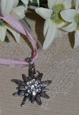 Edelweiss Pendant with Pink Checkered Band