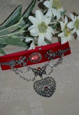 "Necklace Choker ""Jeanne""  Red"